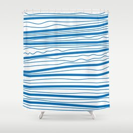 In the tidal waves | blue stripes pattern Shower Curtain