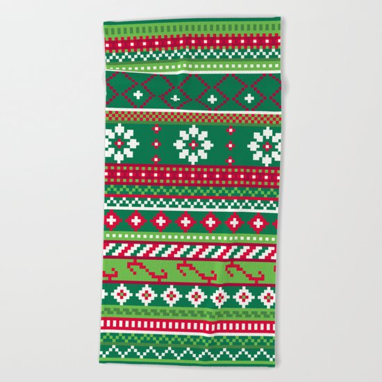 Fair Isle Christmas Pattern Beach Towel