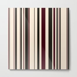 Antique White, Chocolate Brown and Black Chocolate Stripes Metal Print