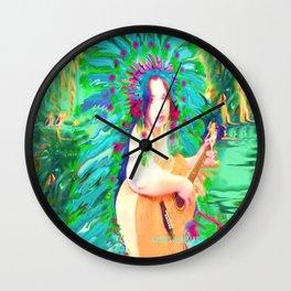 HAWAIIAN PRINCESS,INDIAN FEATHER HEAD DRESS LADYKASHMIR Wall Clock