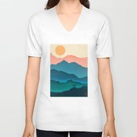 samsung V-neck T-shirts featuring Meditating Samurai by Bacht
