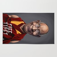 lama Area & Throw Rugs featuring Celebrity Sunday ~ Dalai Lama (FREE TIBET SPECIAL) by rob art | illustration