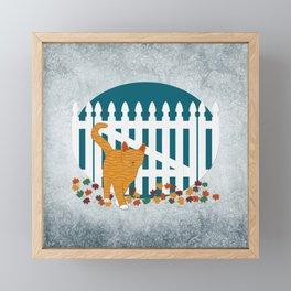 Orange Cat Picket Fence Framed Mini Art Print