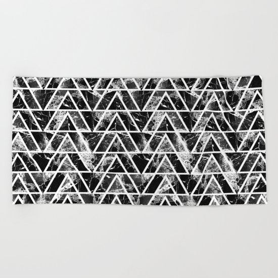 Marble triangles Beach Towel