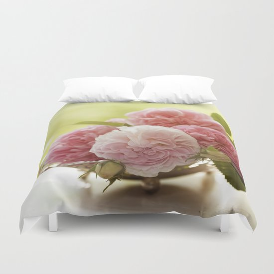 Pink Roses in a silver bowl- Vintage Stilllife Photography Duvet Cover