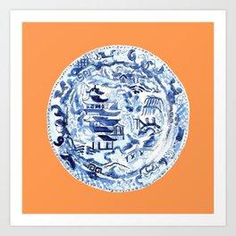CHINOISERIE PLATE ON TANGERINE Art Print