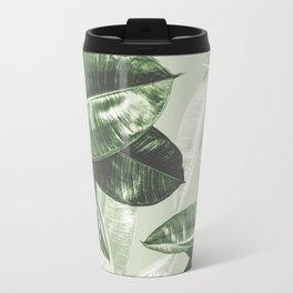 Tropical Leaves Dark Green Pattern Travel Mug