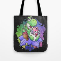 yoshi Tote Bags featuring Yoshi and Baby Yoshi by likelikes