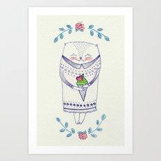 icy cat Art Print