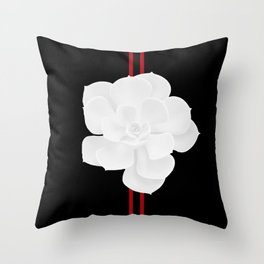 White Succulent On Black #decor #society6 #buyart Throw Pillow