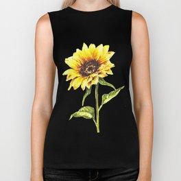 Watercolor Sunflower Biker Tank