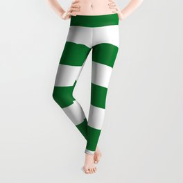 La Salle green - solid color - white stripes pattern Leggings