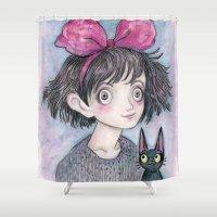 kiki Shower Curtains featuring Kiki and Jiji by Brettisagirl
