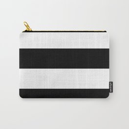 Even Horizontal Stripes, Black and White, XL Carry-All Pouch