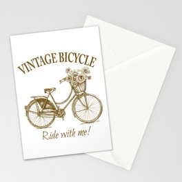 Vintage Bicycle With Sunflower Basket Stationery Cards