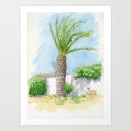 Portuguese villa and tree Art Print