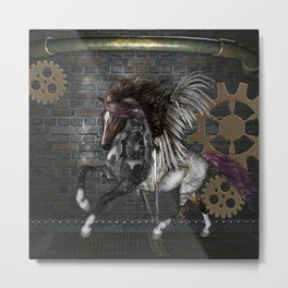 Steampunk, awesome steampunk horse with wings Metal Print