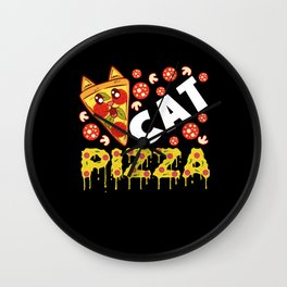 Cat Pizza Feral Feline Pepperoni Cheese Wall Clock