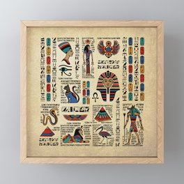 Egyptian hieroglyphs and deities on papyrus Framed Mini Art Print