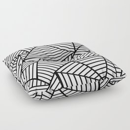 Abstraction Lines Close Up Black and White Floor Pillow