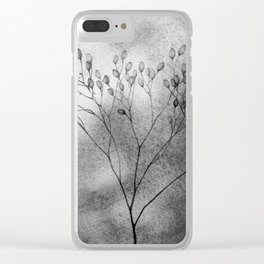 Autumn in the meadow, bw Clear iPhone Case