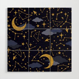 Celestial Stars and Moons in Gold and Dark Blue Wood Wall Art