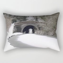 Snowing on the canal Rectangular Pillow