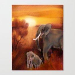 Elephants by the Waterhole Canvas Print