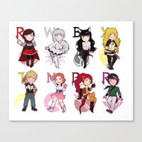 rwby Canvas Prints featuring RWBY + JNPR by kamikaze43v3r