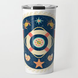 Nautical circle poster Travel Mug