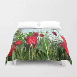 Landscape Close Up Poppies Against Morning Sky Duvet Cover