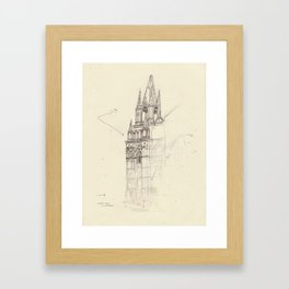 Santa Ana El Salvador Ink Drawing Framed Art Print