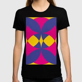 A lot of colored circles intersecting each others and forming eye shaped shapes. And a flower maybe. T-shirt