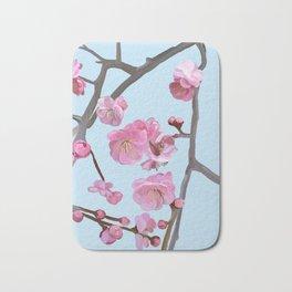 painted plum blossom sky blue Bath Mat