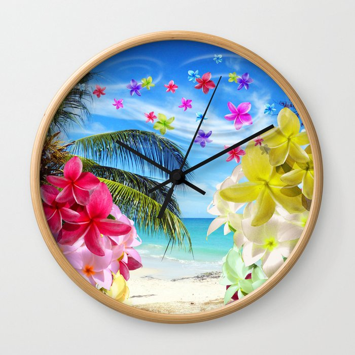 Tropical Beach and Exotic Plumeria Flowers Wall Clock