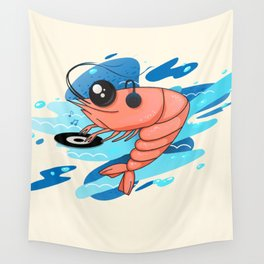 DJ shrimp. swing on the waves of music Wall Tapestry