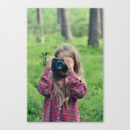 photographing in blueberries and pines Canvas Print