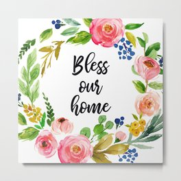 Bless Our Home Metal Print