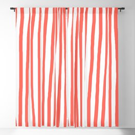 Hand Drawn Stripes Living Coral Vertical Blackout Curtain