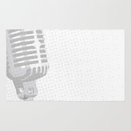 Grey Microphone Background Rug