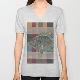 Bluegill on Earth Tone Plaid Unisex V-Neck