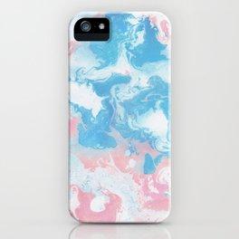 Blue, Pink, & White Ocean Marble Swirls Gradient Aesthetic Mash iPhone Case