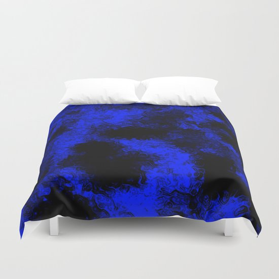 Blue neon and black modern decorative abstract design  Duvet Cover