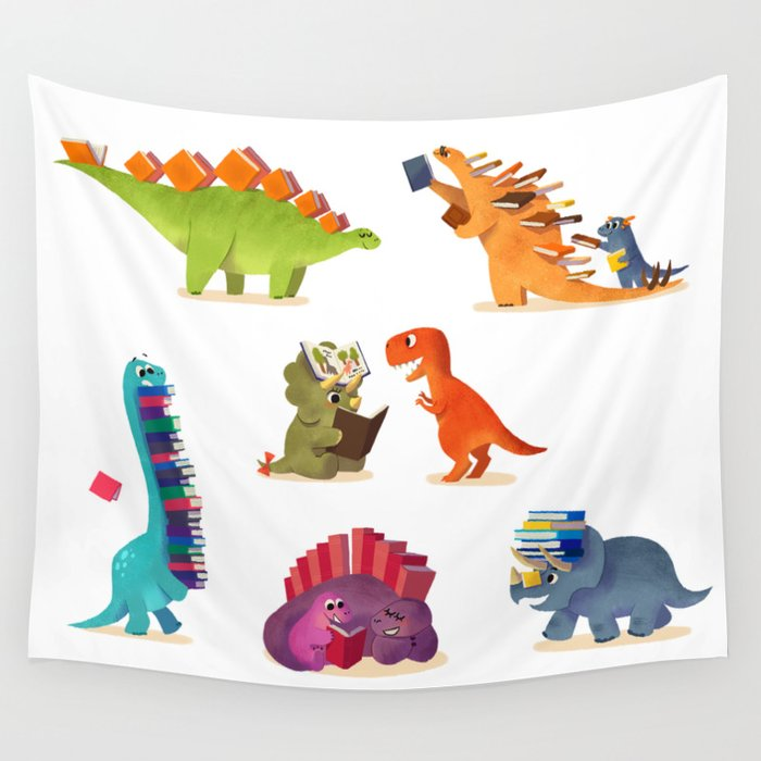 BOOK DINOSAURS Wall Tapestry