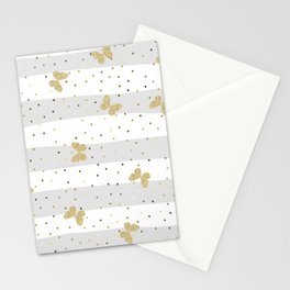 Butterfly Christmas seamless pattern and Gold Confetti on Pastel Gray and White Stripes Background Stationery Cards