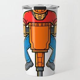 Construction Worker Jackhammer Mono Line Art Travel Mug