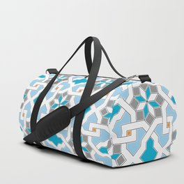 Oriental design - geometric Pattern Pt.1 , seamless design - blue, grey, white Duffle Bag
