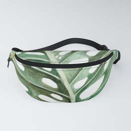 Circular Monstera Leaf Painting Fanny Pack