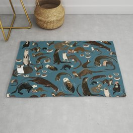 Otters of the World pattern in teal Rug