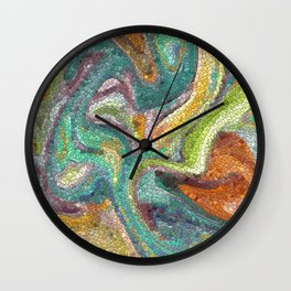 Turquoise, Copper, Gold, Green, Mosaic Design Wall Clock